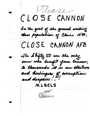 Primary view of object titled 'Letter from Cannon AFB local community to the BRAC Commission'.