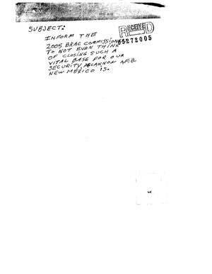Primary view of object titled 'Letter from concerned citize to the BRAC Commission'.