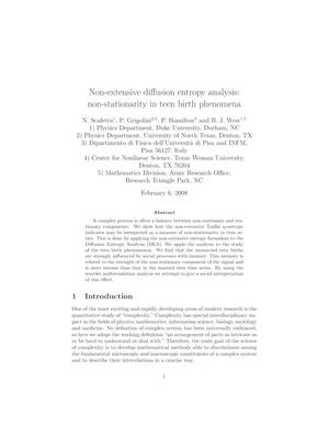 Non-extensive diffusion entropy analysis: non-stationarity in teen birth phenomena