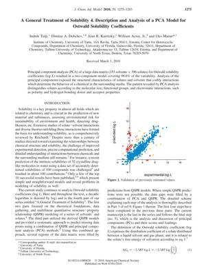 Primary view of object titled 'A General Treatment of Solubility 4. Description and Analysis of a PCA Model for Ostwald Solubility Coefficients'.