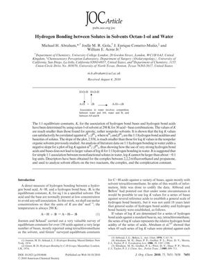 Primary view of object titled 'Hydrogen Bonding between Solutes in Solvents Octan-1-ol and Water'.