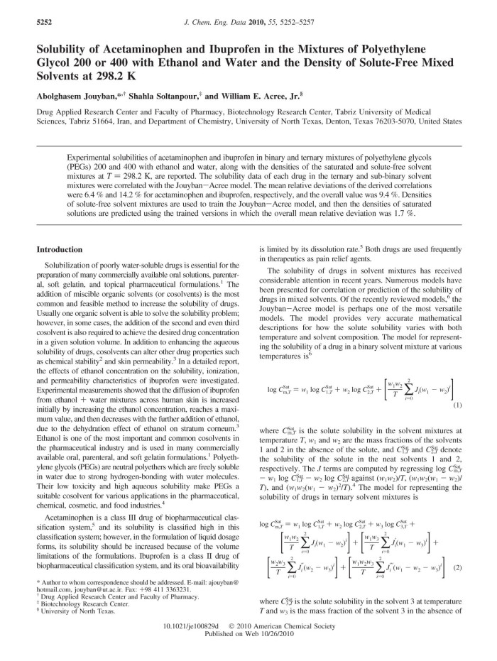 Solubility of Acetaminophen and Ibuprofen in the Mixtures of