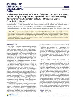 Primary view of object titled 'Prediction of Partition Coefficients of Organic Compounds in Ionic Liquids Using a Temperature-Dependent Linear Solvation Energy Relationship with Parameters Calculated through a Group Contribution Method'.