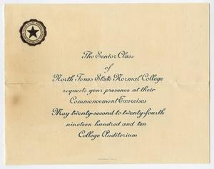 Primary view of object titled '[Commencement Announcement for North Texas State Normal College, May 1910]'.