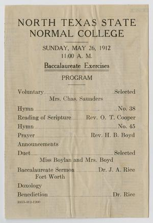 Primary view of object titled '[Commencement Program for North Texas State Normal College, May 26, 1912]'.