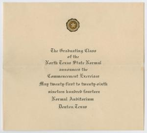Primary view of object titled '[Commencement Announcement for North Texas State Normal College, May 1914]'.