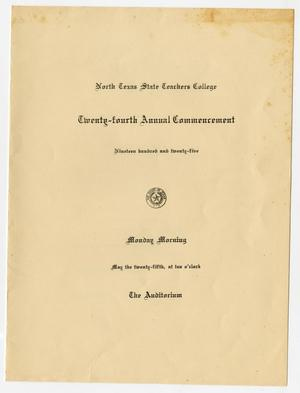 Primary view of [Commencement Program for North Texas State Teachers College, May 25, 1925]