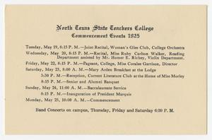 Primary view of object titled '[Commencement Events for North Texas State Teachers College, May 1925]'.