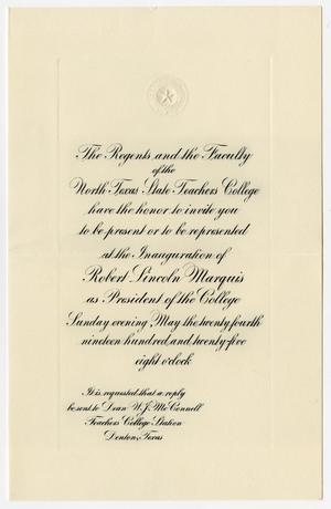 Primary view of object titled '[Invitation for the Inauguration of Robert Lincoln Marquis, May 24, 1925]'.