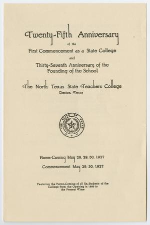 Primary view of object titled '[Commencement Program for North Texas State Teachers College, May 1927]'.