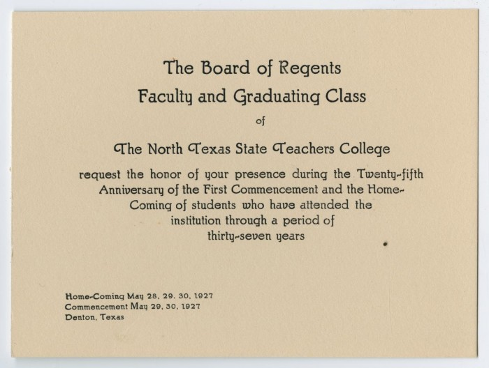 Commencement program invitation for north texas state teachers primary view of object titled commencement program invitation for north texas state teachers college stopboris Image collections