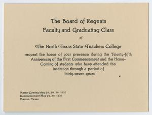 Primary view of object titled '[Commencement Program Invitation for North Texas State Teachers College, May 1927 ]'.