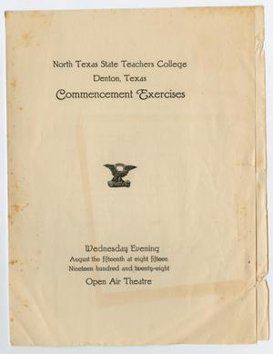 Primary view of object titled '[Commencement Program for North Texas State Teachers College, August 15, 1928]'.