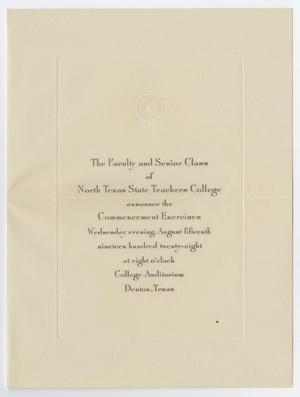 Primary view of object titled '[Commencement Announcement for North Texas State Teachers College, August 15,1928]'.