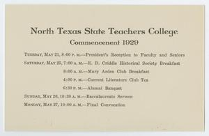 Primary view of object titled '[Commencement Events Program for North Texas State Teachers College, May 1929]'.