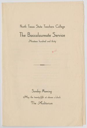 Primary view of object titled '[Commencement Program for North Texas State Teachers College, May 25, 1930]'.