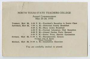 Primary view of object titled '[Commencement Announcement Invitation for North Texas State Teachers College, May 1930]'.