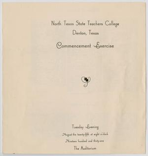 Primary view of object titled '[Commencement Program for North Texas State Teachers College, August 25, 1931]'.