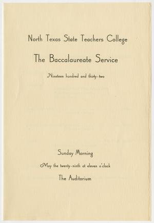 Primary view of object titled '[Commencement Program for North Texas State Teachers College, May 29, 1932]'.