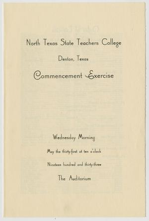 Primary view of object titled '[Commencement Program for North Texas State Teachers College, May 31, 1933]'.