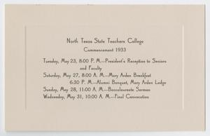Primary view of [Commencement Event Program for North Texas State Teachers College, May 1933]