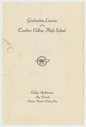Primary view of object titled '[Commencement Program for the Teachers College High School, May 30, 1934]'.