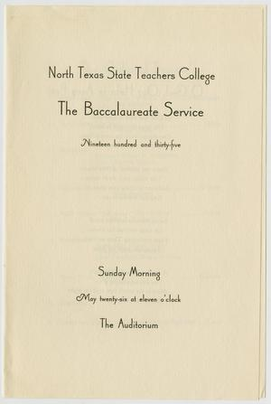 Primary view of object titled '[Commencement Program for the North Texas State Teachers College, May 26, 1935]'.