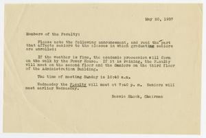 Primary view of object titled '[Commencement Announcement for North Texas State Teachers College, May 20, 1937]'.