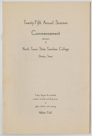 Primary view of [Revised Commencement Program for North Texas State Teachers College, August 20, 1937]