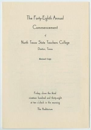 Primary view of object titled '[Revised Commencement Program for North Texas State Teachers College, June 3, 1938]'.