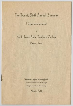 Primary view of object titled '[Commencement Program for North Texas State Teachers College, August 24, 1938]'.
