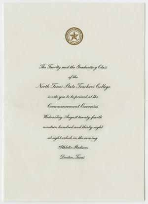 Commencement Invitation for North Texas State Teachers College