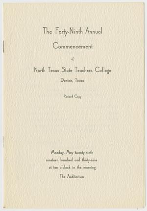 Primary view of object titled '[Revised Commencement Program for North Texas State Teachers College, May 29, 1939]'.