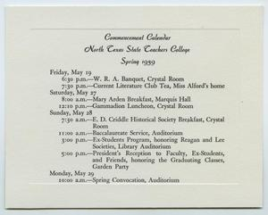 Primary view of object titled '[Commencement Calendar for North Texas State Teachers College, Spring 1939]'.