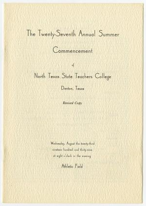 Primary view of object titled '[Revised Commencement Program for North Texas State Teachers College, August 23, 1939]'.