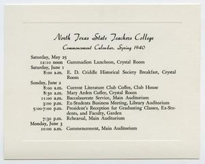 Primary view of object titled '[Commencement Calendar for North Texas State Teachers College, Spring 1940]'.