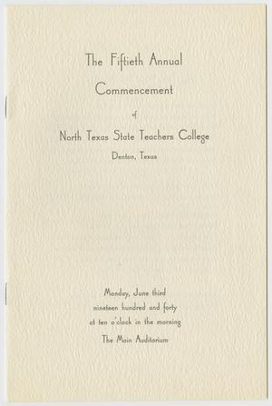 Primary view of object titled '[Commencement Program for North Texas State Teachers College, June 3, 1940]'.