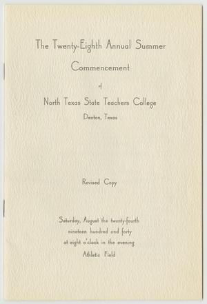 Primary view of object titled '[Revised Commencement Program for North Texas State Teachers College, August 24, 1940]'.