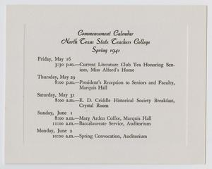 Primary view of object titled '[Commencement Calendar for North Texas State Teachers College, Spring 1941]'.