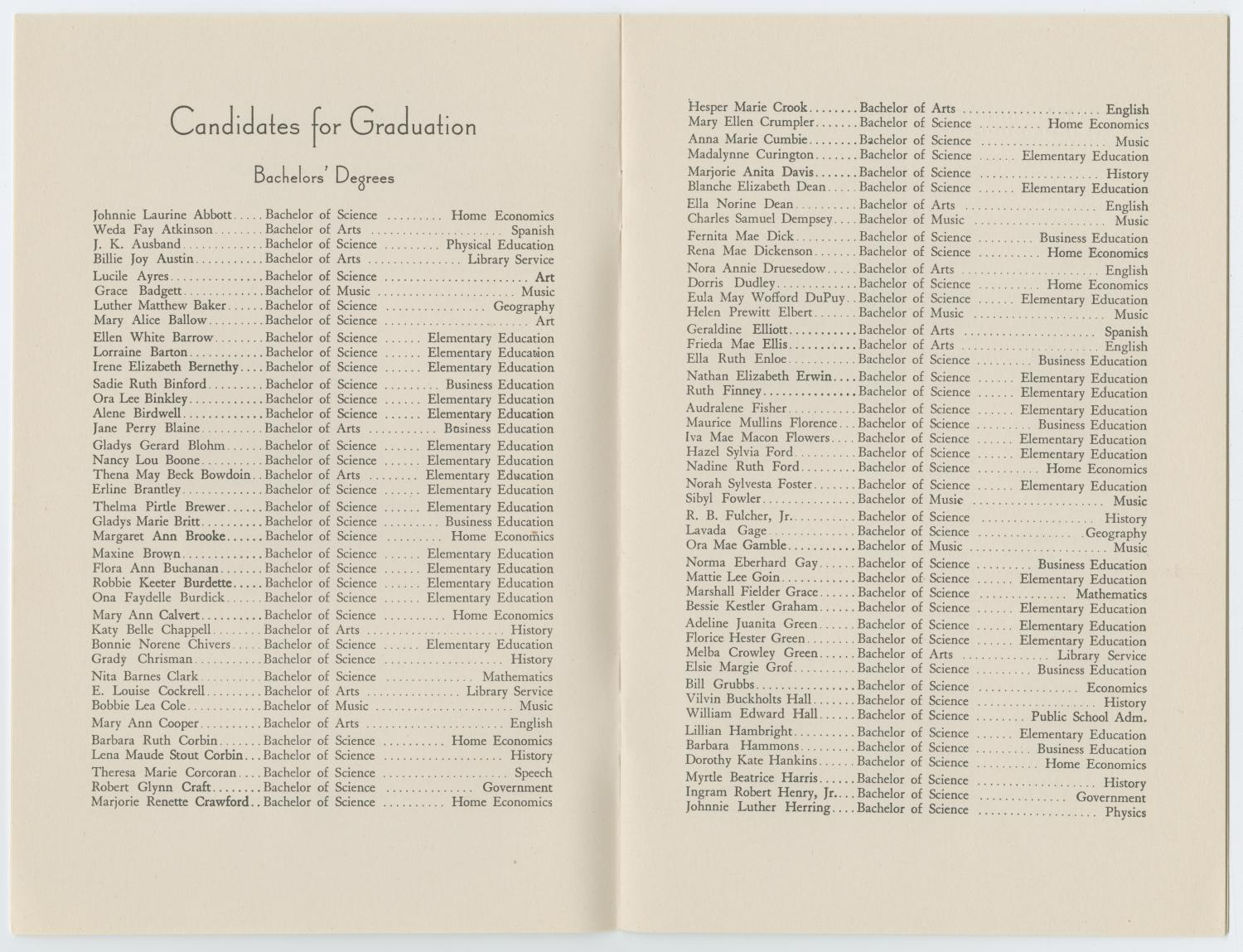[Commencement Program for North Texas State Teachers College, Summer 1942]                                                                                                      [Sequence #]: 3 of 9