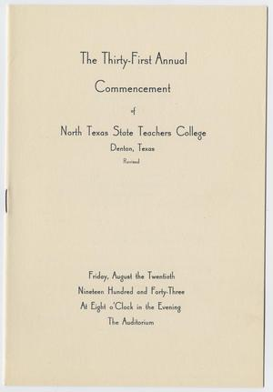 Primary view of object titled '[Revised Commencement Program for the North Texas State Teachers College, August 20, 1943]'.