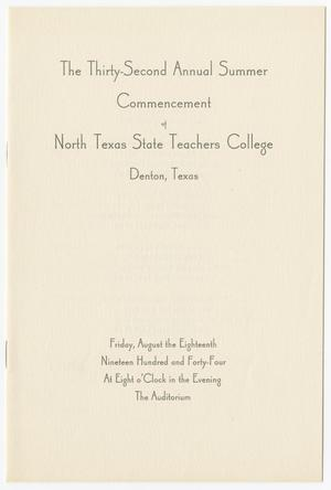 Primary view of object titled '[Commencement Program for North Texas State Teachers College, August 18, 1944]'.