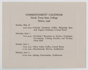 Primary view of object titled '[Commencement Calendar for North Texas State Teachers College, Spring 1946]'.