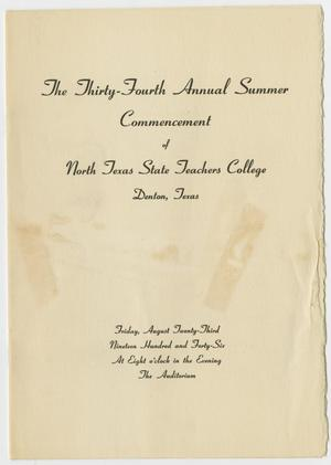 Primary view of object titled '[Commencement Program for North Texas State Teachers College, August 23, 1946]'.