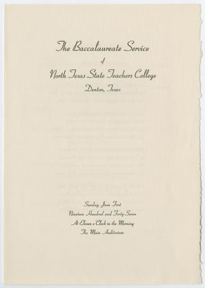 Primary view of object titled '[Commencement Program for North Texas State Teachers College, June 1, 1947]'.