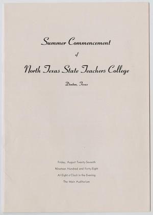 Primary view of object titled '[Commencement Program for North Texas State Teachers College, Summer 1948]'.