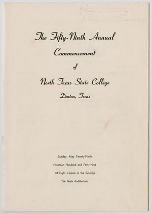 Primary view of [Commencement Program for North Texas State College, May 29, 1949]