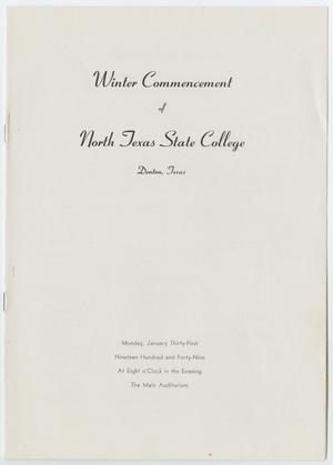 Primary view of object titled '[Commencement Program for North Texas State College, January 31, 1949]'.