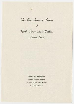 Primary view of object titled '[Commencement Program for North Texas State College, May 28, 1950]'.
