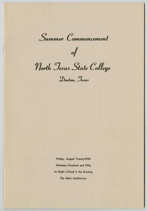 Primary view of object titled '[Commencement Program for North Texas State College, August 25, 1950]'.